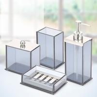 ANHO Crystal Glass Bathroom Set European Style Bathroom Four Piece Lotion Bottle Mouthwash Cup Soap Dish