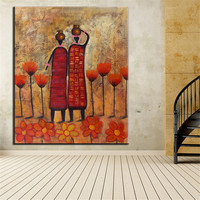 Hand Painted No Frame oil painting double African wall flower ABSTRACT Oil Painting Canvas Prints Wall Painting For Living Room