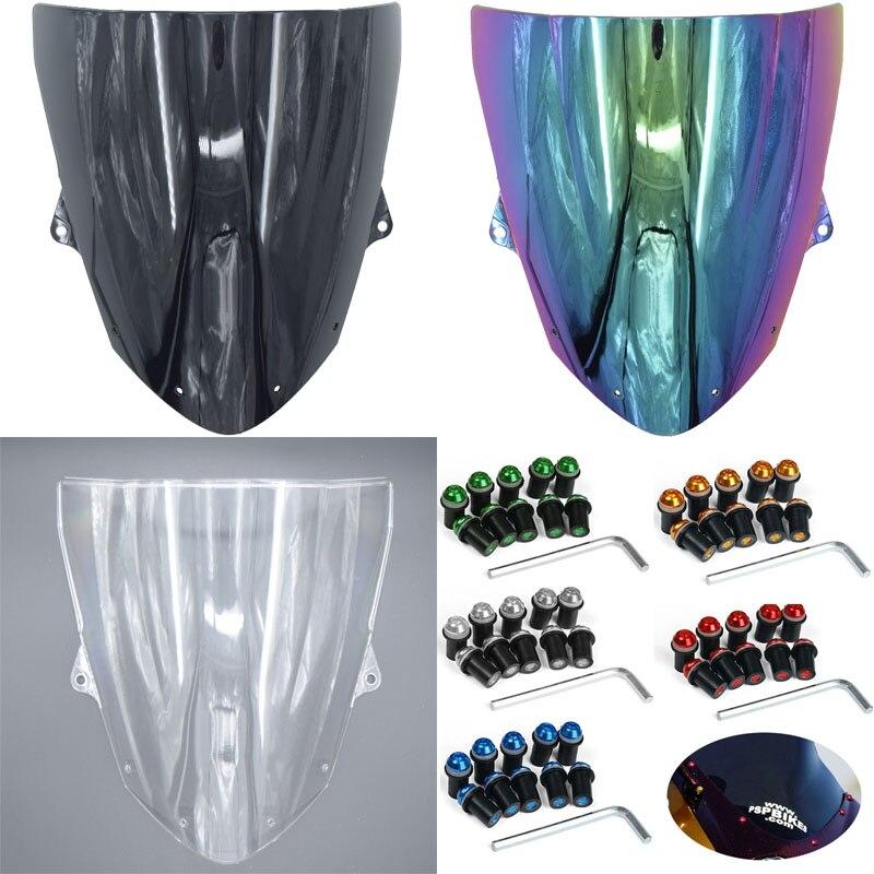 Pour Pour Kawasaki ZX6R 2009-2010 ZX10R 2008-2010 ZX 6R 10R Double bulle Injection Moto pare-brise pare-brise boulon Vis