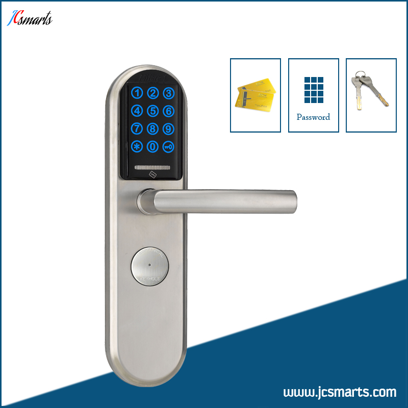 High security code door lock touch keypad electronic M1 card door lock for apartments ned high security electronic induction smart digit code keypad entry door lock with id reader right handle and card unlock