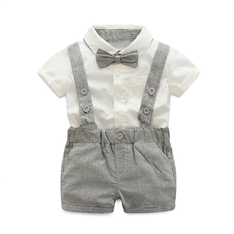Summer Baby Boys Clothes Sets Bowtie White Shirts+Bib Shorts Overalls 2pcs/set Handsome Gentleman Kids Casual Boy Clothes summer boys handsome gentleman suits 2018 summer new baby boy clothes set 1 3 years striped summer children clothing