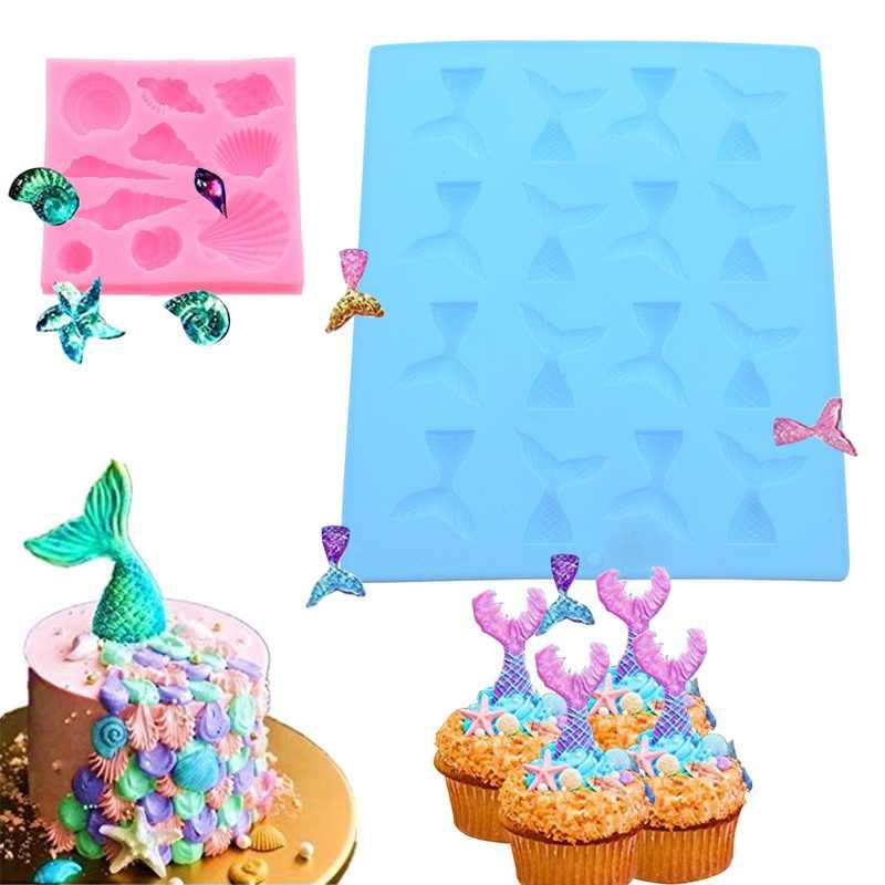 1 комплект тропический пляж тема торт плесень Сахарное печенье Декор DIY Кухня Формы для выпечки инструменты Русалка помадка силиконовые формы