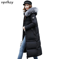 Winter Coat Women 2017 Long Winter Jackets Large Fur Hooded Pockets Parkas Cotton Padded Jacket Coat