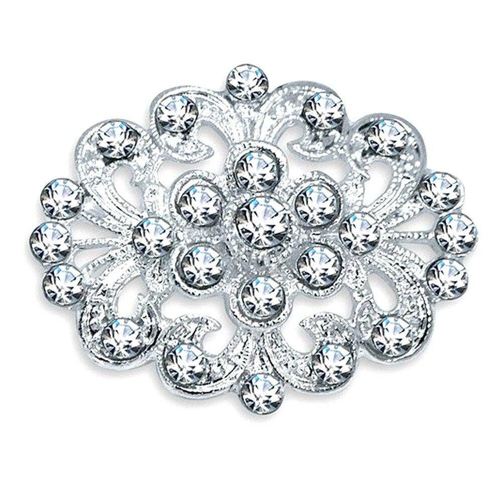 Красивые прозрачные хрустальные стразы с цветком, серебряная брошь