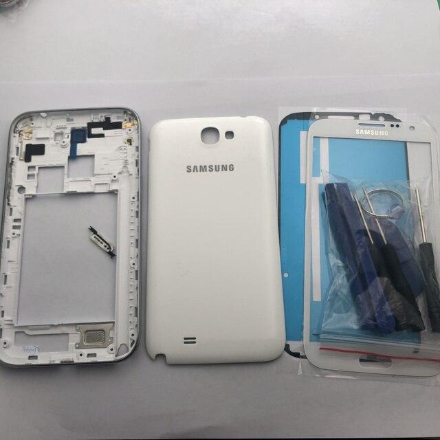 Сменный Чехол с полным корпусом, запасные части для Samsung Galaxy Note 2 II N7100, задняя панель со средней рамкой и переднее стекло
