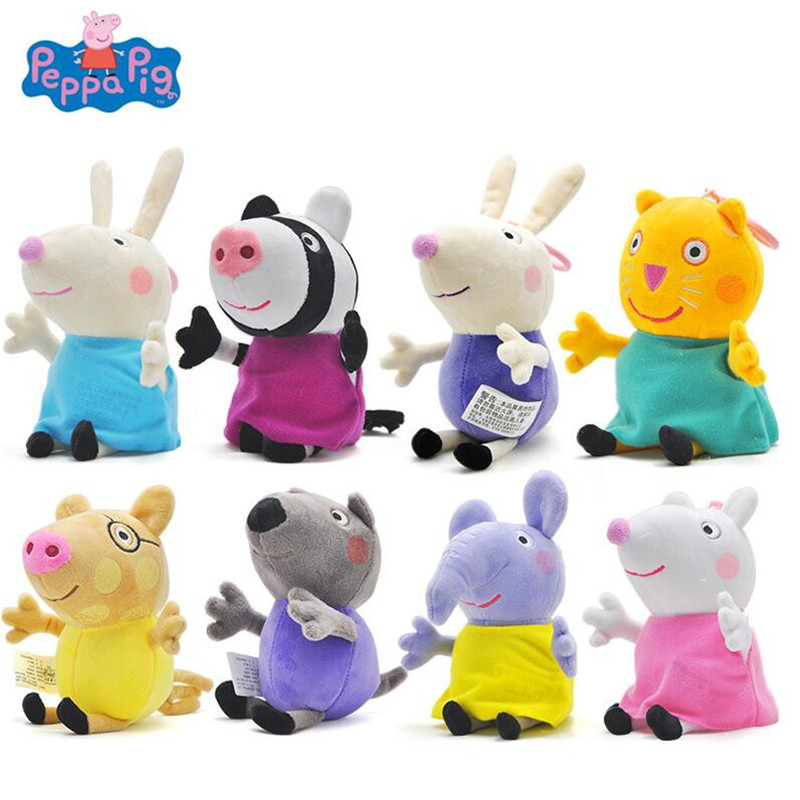 Peppa Pig 19cm Plush Toys Peppa George Family Stuffed Doll Peppa Friends Candy Danny Pedro Emily Birthday Gift For Kids Original 19cm adorable peppa pig dad mom george stuffed plush toy