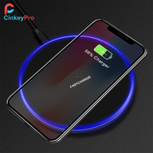 CinkeyPro Wireless Charger Pad 5W & 10W Fast Charging with LED light for iPhone 8 X Samsung Charge Mobile Phone QI Device