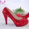 Красный горный хрусталь каблуки женщин туфли на высоком каблуке свадьба платформа туфли золушка валентина ну вечеринку туфли размер 9 10 11