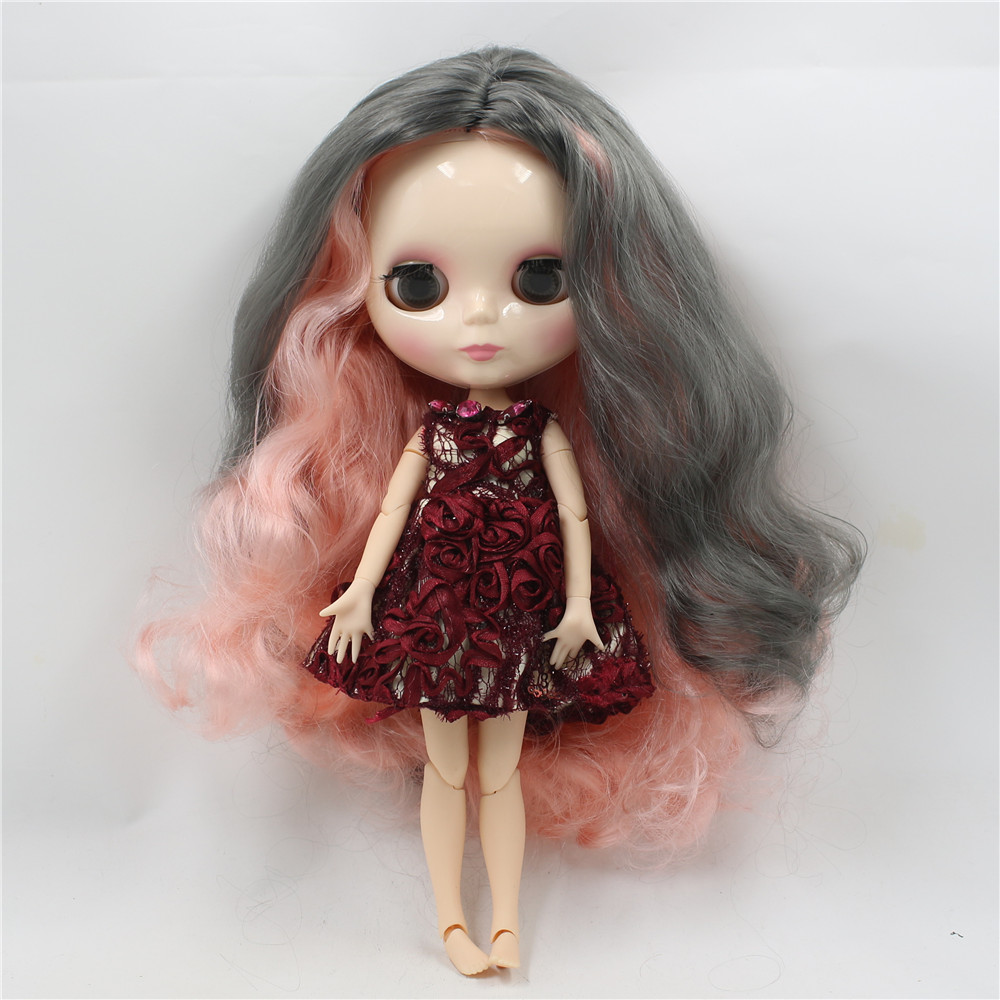 Toy Gift neo blyth nude doll factory blyth grey mix pink hair centre parting big breast joint body 1/6 30cm doll 280BL1010/9016 adiors long middle parting shaggy wavy color mix synthetic party wig