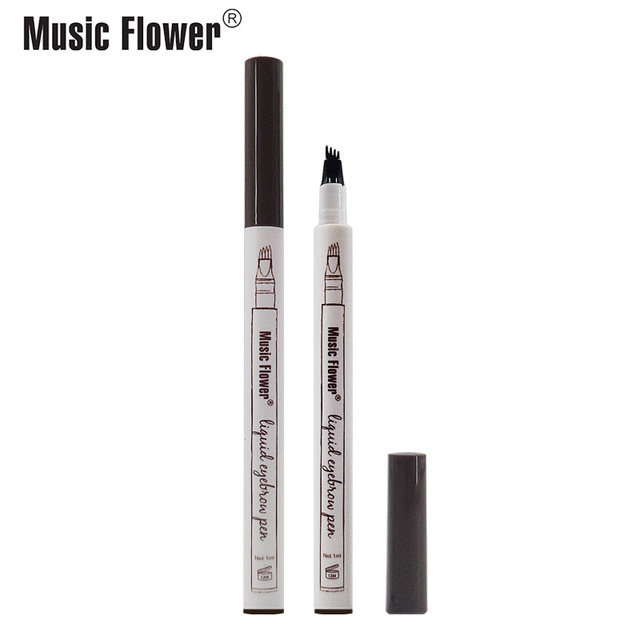 Music Flower 3 colors microblading eyebrow tattoo pen Tint Natural Long Lasting Waterproof Brown Fork tip Eyebrow Pencil 3