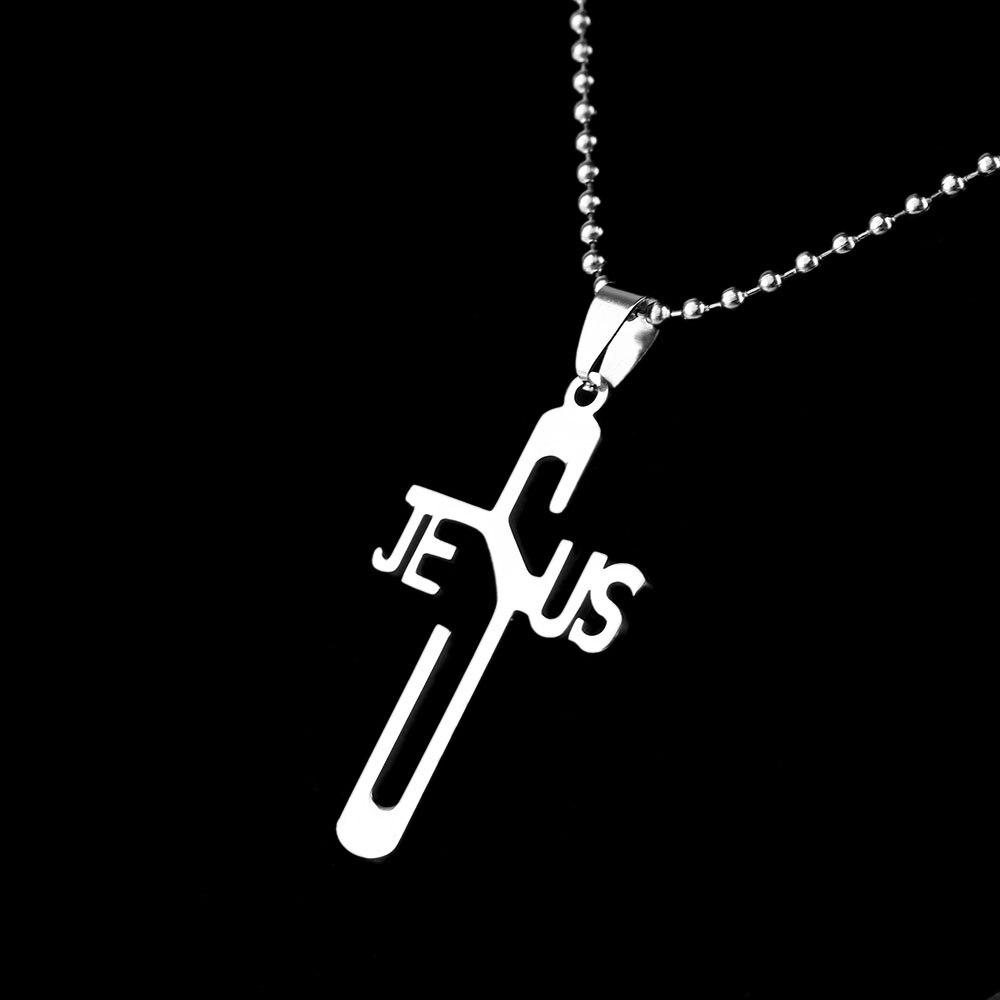 1Pcs Stainless Steel JESUS CROSS Necklaces & Pendants Silver Color Chic Women & Men Necklaces Jewelry Wholesale