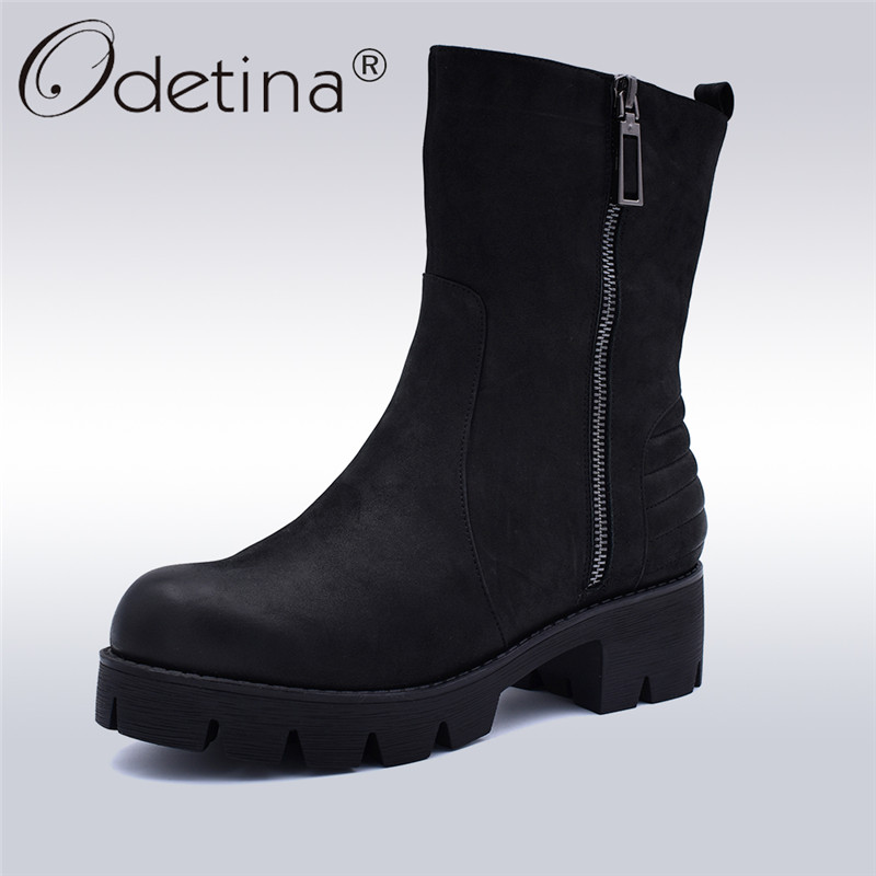 Odetina New Fashion Genuine Leather Warm Wool Work Boots Women Platform Low Heels Concise Mid Calf Booties Side Zip Winter Shoes concise style black pu leather stiletto heels mid calf boots women trendy platform super high heel boots classic back zip shoes
