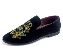 Black Cow Leather Shoes Embroidery Male Loafers Men s Flat Shoe Loafer Causal Flat Mens Formal