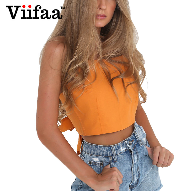 Viifaa Sleeveless   Tank     Top   Sexy Women Tie a Bowknot Crop   Top   Summer Orange   Tops   Femme Halter Camisole
