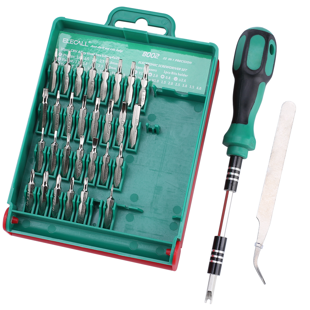 33 In 1  Screwdriver Set Interchangeable Torx Tweezer Extension Repair Tool Kit Box For Notebook Laptop Pc Cameral Watch Phone new tool for watch repair tool kit set watch case opener link spring bar remover screwdriver tweezer watchmaker dedicated device