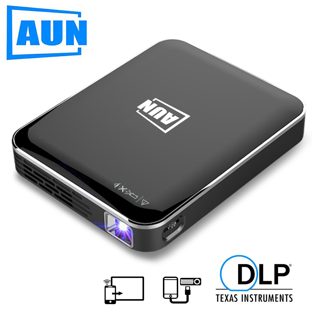 AUN MINI DLP Projector X3, Support Android / IOS screen mirroring , Portable for 1080P Home Cinema , New travel mate beamer(China)