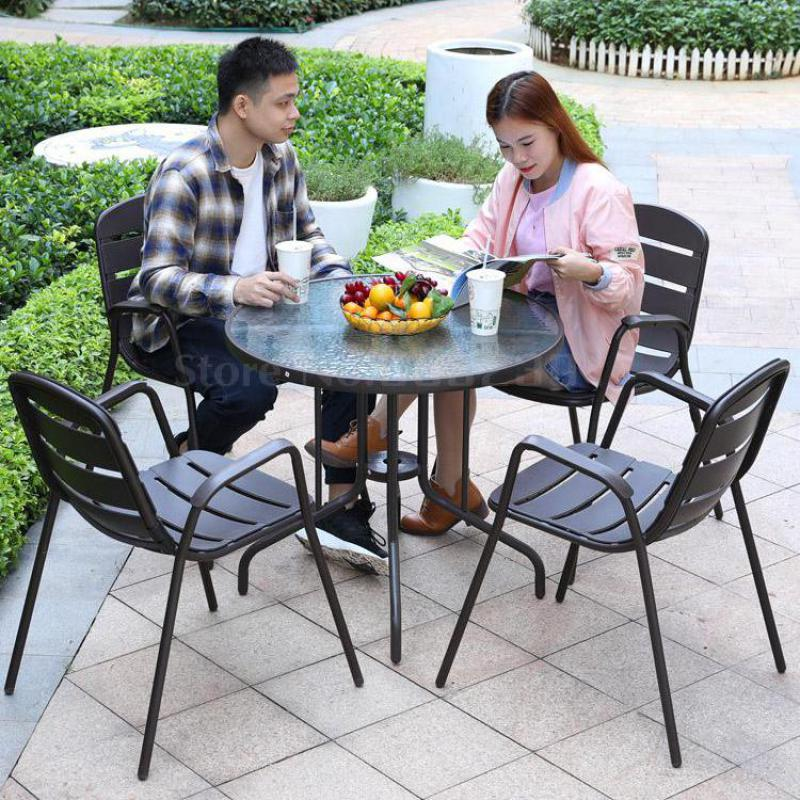 Outdoor table and chair patio combination outdoor leisure simple garden outside balcony small coffee table open air five-piece(China)