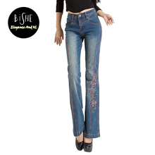 BiSHE Women'S Blue Denim Jeans 60s 70s Bell Bottoms Retro Slim Fit Flared Stretch Pants Tie Dye Mid Waist Embroidered Jeans