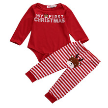 Autumn Baby Clothes Set Newborn Baby Girl Boy First Christmas Red Bodysuit Tops+Long Pants Outfits Baby Set Clothes