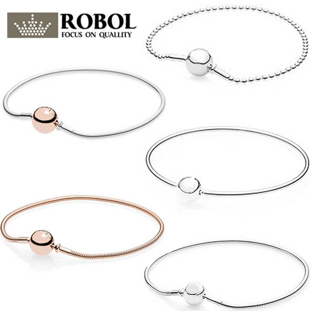 ROBOL 100% Classic Logo Round Gold Chain Pink Gold Color Sterling Silver Bracelet Bracelet for DIY Jewelry Ladies Bracelet classic printed round decorated faux leather chain bracelet for women
