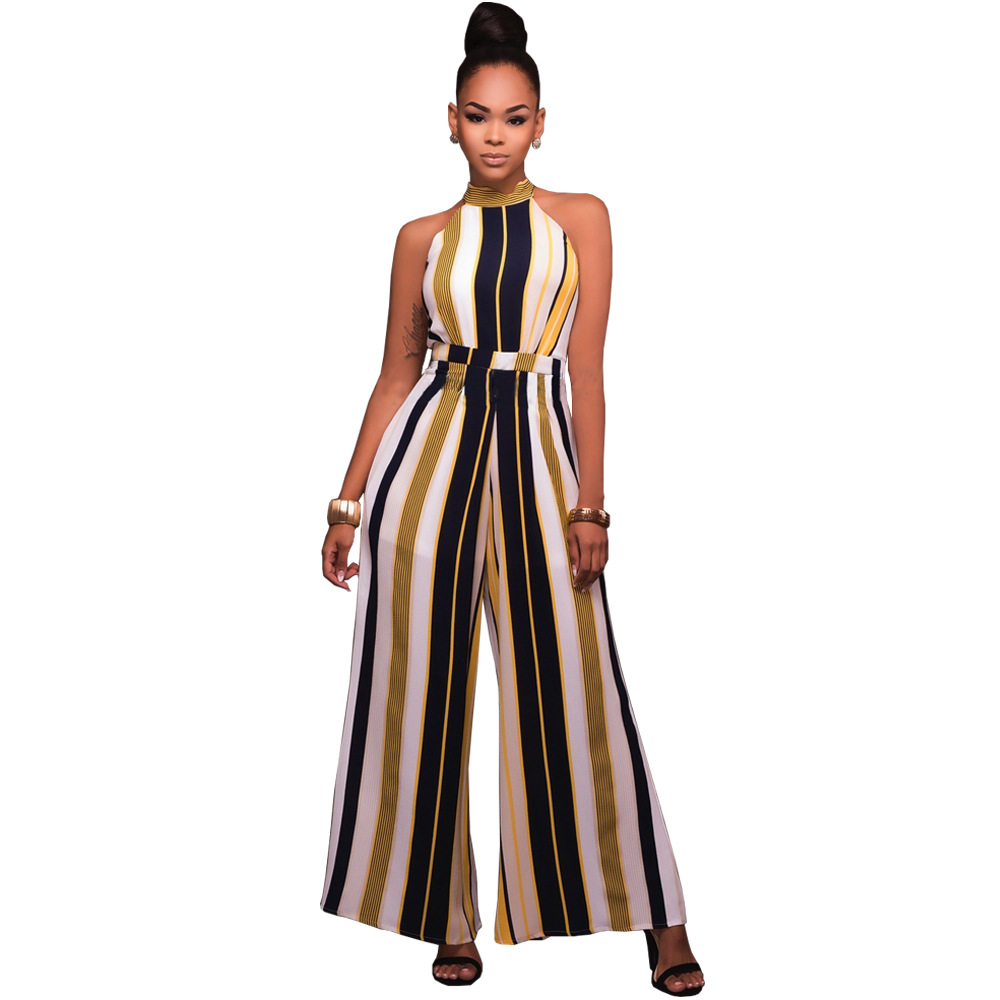 Vertical Striped Print Jumpsuit Women Casual Halter Bandage Sexy Off Shoulder Sleeveless Tunic Overalls Loose Elegant Jumpsuit