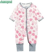 CHAMSGEND White Infant Baby Unisex Girls Boys Print O Neck Long Sleeve Zipper Romper Jumpsuit Outfits