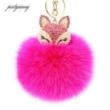 Симпатичные Кристалл Фокс плюшевые брелки для Для женщин сумка аксессуары мех кролика мяч брелок для ключей лиса инкрустация стразами автомобильный брелок