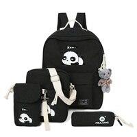 Симпатичные панды рюкзак для подростков Обувь для девочек школьная сумка Повседневное рюкзак женский путешествия печать рюкзак 4 шт./компл.