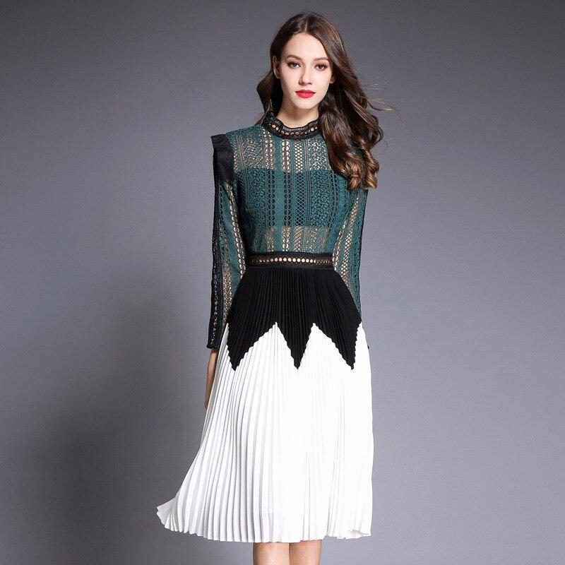 Slim Creux Pic Arrivée 2018 De À Out Femmes Patchwork Vêtements Élégante Manches Plissée Mode Nouvelle Empire As Longues Sexy Transparent Robe pqq4Tvf