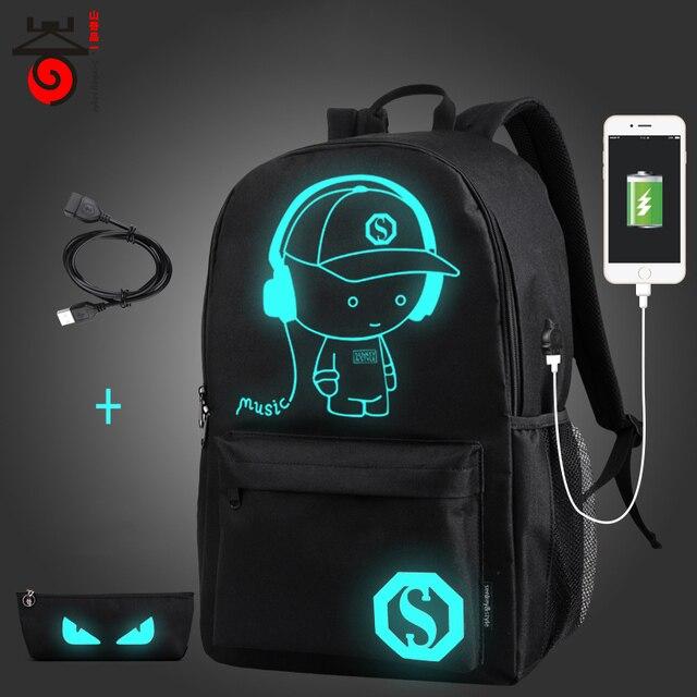 Senkey style USB Charge Men Backpacks Anime Luminous School Backpack Bag  For Teenager Anti-theft Laptop Backpack Travel Mochila b48c1ec78c