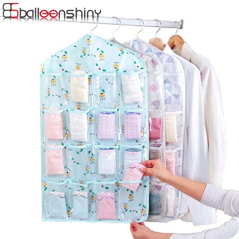 Balleenshiny 16 Grid Hanging Storage Bag Clear Door Wall