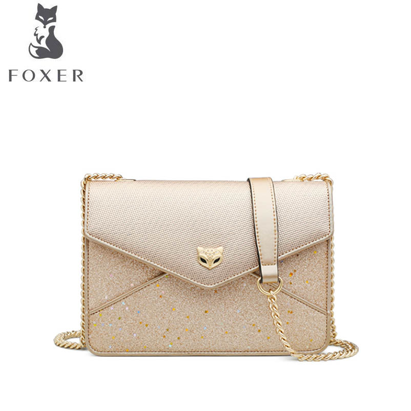 купить FOXER 2018 New women leather bag luxury handbags designer chain small bag Handbags shoulder bag fashion women leather handbags по цене 4185.93 рублей