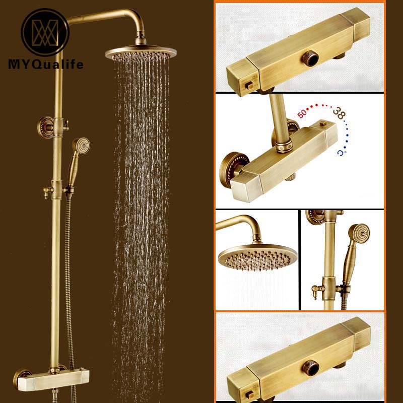 US $175.2 40% OFF|Wall Mounted Brass Antique Shower Set Dual Handle  Constant Temperature Shower Faucet With Thermostatic Mixer Valve In Shower  Faucets ...