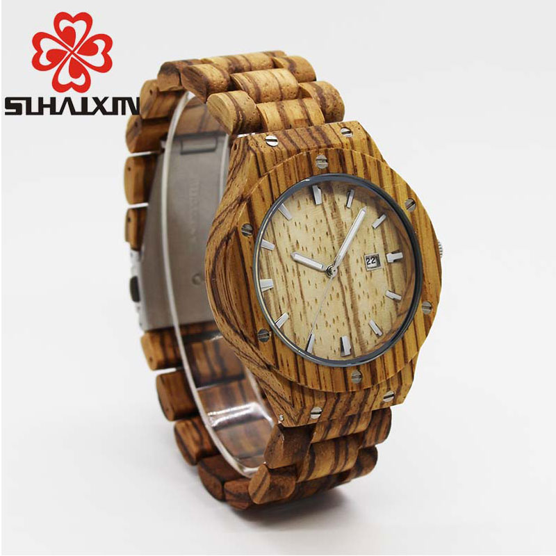 SIHAIXIN Natural Wood Watches For Men Luxury Fashion Calendar Quartz Wood Band Luminous Needles Vintage WristWatch Mens For Gift yuneec q500 typhoon quadcopter handheld cgo steadygrip gimbal black