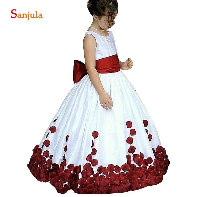 White Taffeta   Flower     Girls     Dress   With Burgundy Sash Petals Chidren Wedding Party   Dress   Long Kids Formal Robe Fast Shipping Free