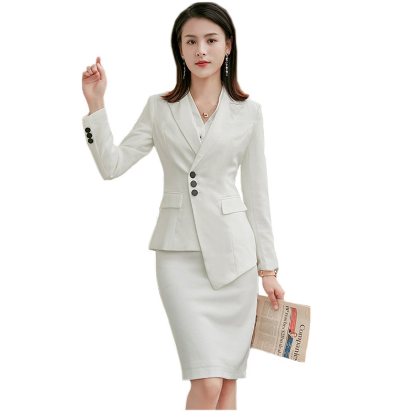 2019 Summer White Skirt Suits Women Korean Fashion Casual Slim Two Piece Lady Office Work Suits Long Sleeve Blazers and Skirts