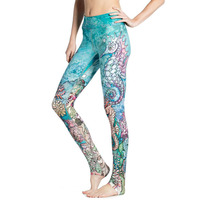 The Underwater World Fashion Women Pants Hippocampus 3D Printing Leggings Sea Animals Print Slim Legging For