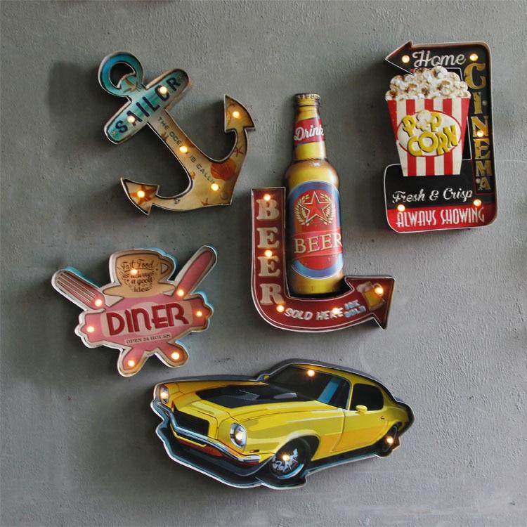 Amerikanischen retro schmiedeeisen wand dekoration bar Cafe led leuchten kreative ornamente hause dekoration zubehör garten dekoration-in Figuren & Miniaturen aus Heim und Garten bei  Gruppe 2