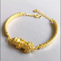 New Arrival Pure 24K Yellow Gold Bracelet Women Pixiu 999 Gold Bracelet 6.34g
