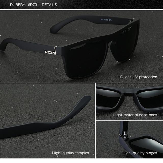 DUBERY Polarized  Sunglasses For Men  Driving Fashion Brand Desinger Sun Glasses For Men  Women Square Mirror 2017 Zipper Box