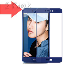 WeeYRN 2 PCS Glass Huawei Honor 8 lite Pro 8X Tempered 0.3mm 9H Full Cover Screen Protector Protective