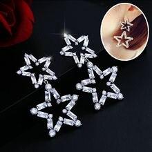 Honghong женские серьги с двойной звездой из циркония высокое