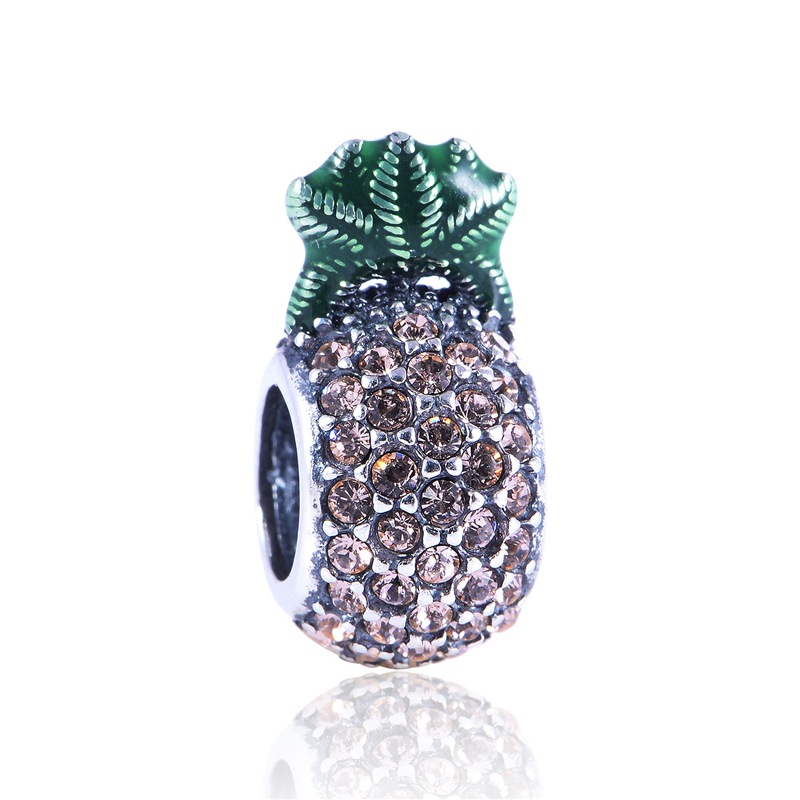 100% Sterling Silver Jewelry Exquisite Color Pineapple Bead Fits Brand Charms Bracelets European Style Wholesale Free Shipping