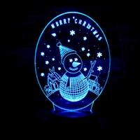 Christmas Snowman 3D Night Light Visual Circular Transparent Acrylic 3d Illusion Lamp 7 Colors Changing Usb LED Desk Table Lamp