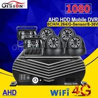 8ch AHD мобильный видеорегистратор с 4 г GPS Wi Fi в режиме реального времени наблюдения Cyclic Запись + 6 шт. 2.0mp AHD Камера автобус жесткий диск AHD видео