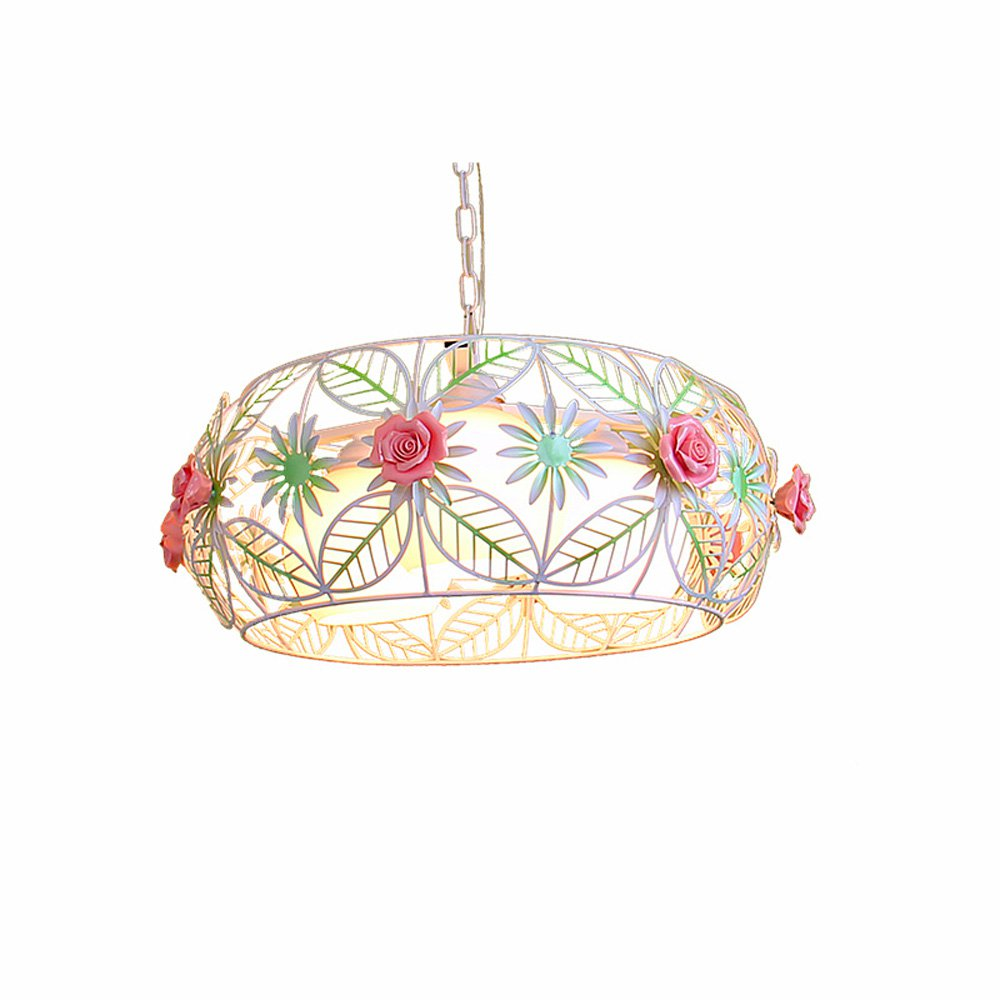 Country Rustic Dining Room Ceiling Pendant Lamp Metal Cage Pink Ceramic Rose Balcony Hang Lamp Bar Counter Bedroom Hanging Light
