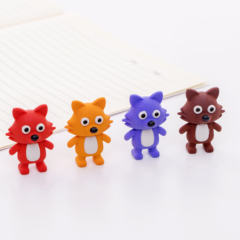 1 Pcs Creative Cartoon Small Fox Cat Model Rubber Eraser Student Rubber Stationery Wholesale