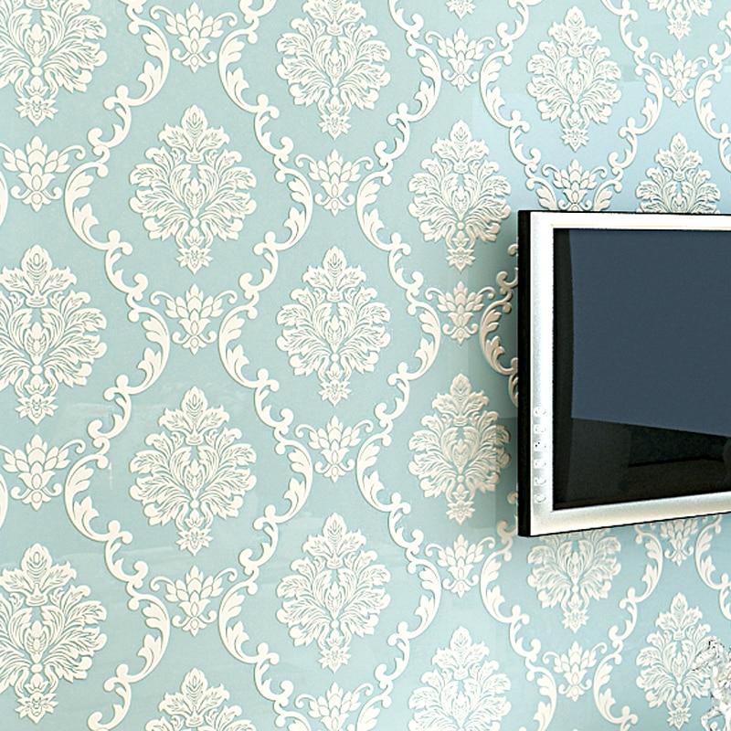 Европейский Стиль 3D тиснением цветочные Роскошные Дамаск обои для Гостиная Спальня ТВ З ...