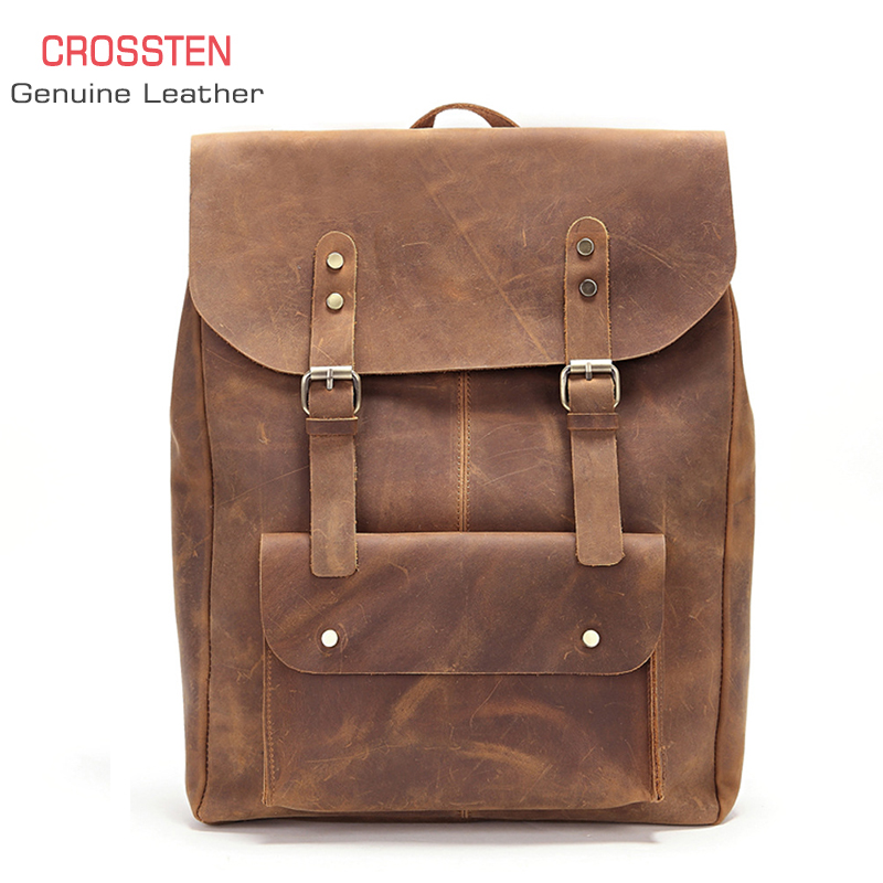 Crossten 100 Cow Leather Men s crazy horse Leather laptop backpack Tote bag travel bag Genuine
