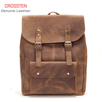 Crossten 100% Cow Leather Men's crazy horse Leather laptop backpack Tote bag travel bag Genuine Leather Schoolbag